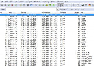 SCTP association setup collision Wireshark trace